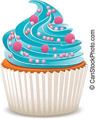 vector, blauwe , cupcake, met, bestrooit