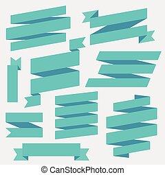vector, blauwe , linten, set
