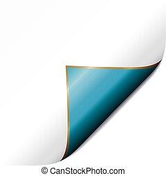 vector, blauwe , pagina, krul