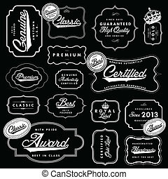 Vector Blipart Black Label and Badge Set