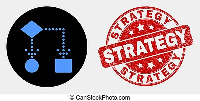 Vector Block Diagram Icon and Scratched Strategy Watermark