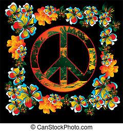 vector, bloem, kunst, vrede