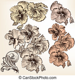 vector, bloemen, gedetailleerd, set