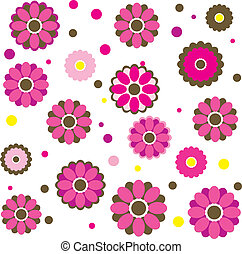 vector, bloemen, lente, kleurrijke