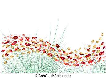 vector, bloemen, met, hartjes