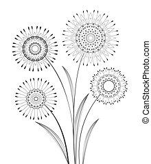 vector, bloemen, weide