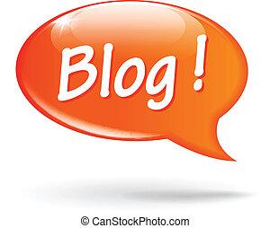 Vector illustration of blog orange speech bubble on white background