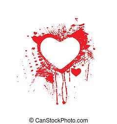 Bloody splatter - Vector Bloody splatter grunge heart