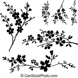 Vector floral and blossom ornaments. Easy to edit.