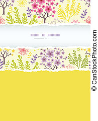 Vector blossoming trees vertical torn frame seamless pattern...