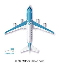 Vector Blue Airplane - Vector Illustration Blue Airplane...