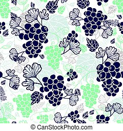 Vector Blue and Mint Green Grapevines Fruit Repeat Seamless...