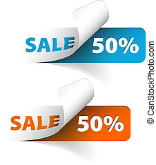 Vector Blue and orange sale coupons (50% discount)