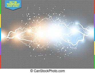 Vector blue and yellow electric lightning bolt. Energy...