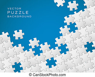 Vector blue background made from white puzzle pieces -...