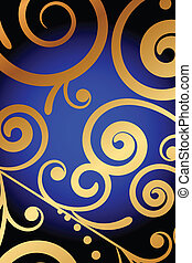 blue background with gold ornament