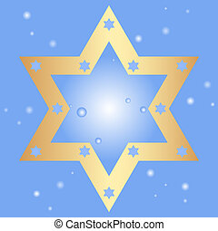 star of David - Vector blue background with golden star of...