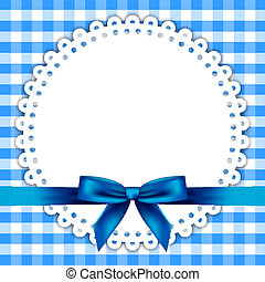 Vector blue background with napkin and ribbon