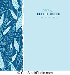 Blue Bamboo Leaves Square Torn Seamless Pattern Background -...