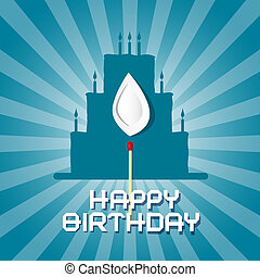 Vector Blue Birthday Background Illustration with Cake Silhouette