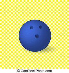 Vector Blue Bowling Ball, Isolated on White Background Object.