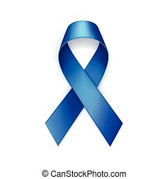 Vector Blue Breast Cancer Ribbon Isolated on White Background
