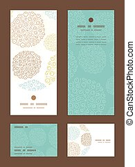 Vector blue brown abstract seaweed texture vertical frame pattern invitation greeting, RSVP and thank you cards set