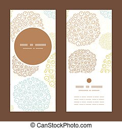 Vector blue brown abstract seaweed texture vertical round frame pattern invitation greeting cards set