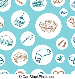Vector blue cakes and pastry seamless background repeat pattern with round circles. Perfect for fabric, scrapbooking and wallpaper projects.