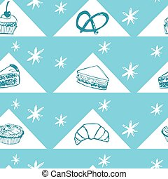 Vector blue cakes and pastry seamless background repeat pattern with triangles. Perfect for fabric, scrapbooking and wallpaper projects.