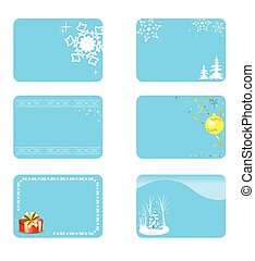 vector blue christmas cards with decorations