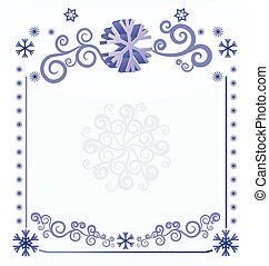 vector blue christmas  snowflakes on white background with abstract curves illustration