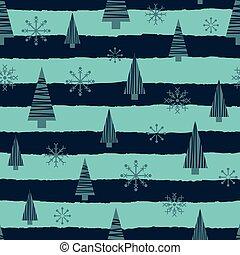 Vector blue Christmas trees stars seamless pattern