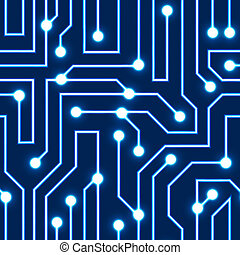 Vector blue circuit board background - Vector glowing blue...
