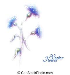 Vector blue cornflower on white background