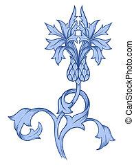 Vector blue cornflower.
