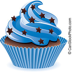blue cupcake - vector blue cupcake with chocolate sprinkles