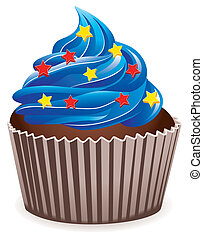 blue cupcake - vector blue cupcake with star sprinkles