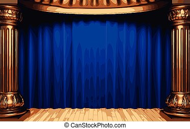 vector blue curtain stage