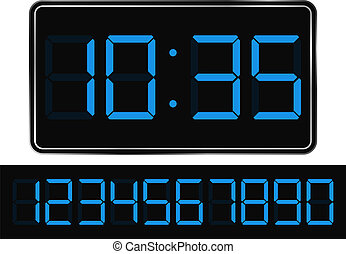 Digital Clock - Vector Blue Digital Clock