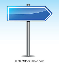 Vector illustration of blue directional signpost on sky background