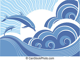 Vector blue dolphins jumping in sea in sun day - Vector blue...