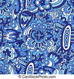 Vector blue doodle flower seamless abstract ethnic decor