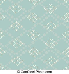 Vector blue dotted rhombus seamless pattern background