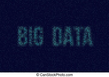 Vector blue dual code background with Big Data words.
