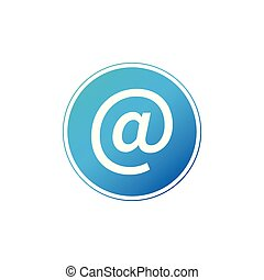 Vector blue e-mail internet icon button. Vector illustration isolated on white background.