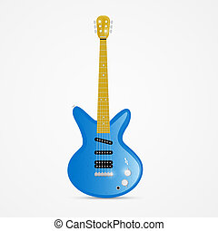 Vector Blue Electric Guitar Isolated on White Background