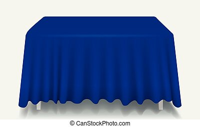 Vector blue Empty Rectangular Table with Tablecloth Isolated.