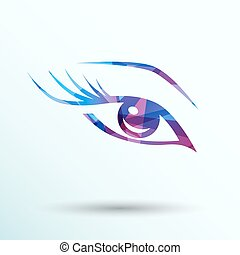 vector blue eye with long lashes woman makeup beauty symbol....