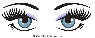 vector blue eyes with long lashes